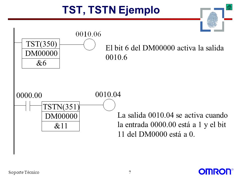 Soporte Técnico7 TST, TSTN Ejemplo TST(350) DM00000 &6 0010.04 El bit 6 del DM00000 activa la salida 0010.6 TSTN(351) DM00000 &11 0000.00 La salida 00