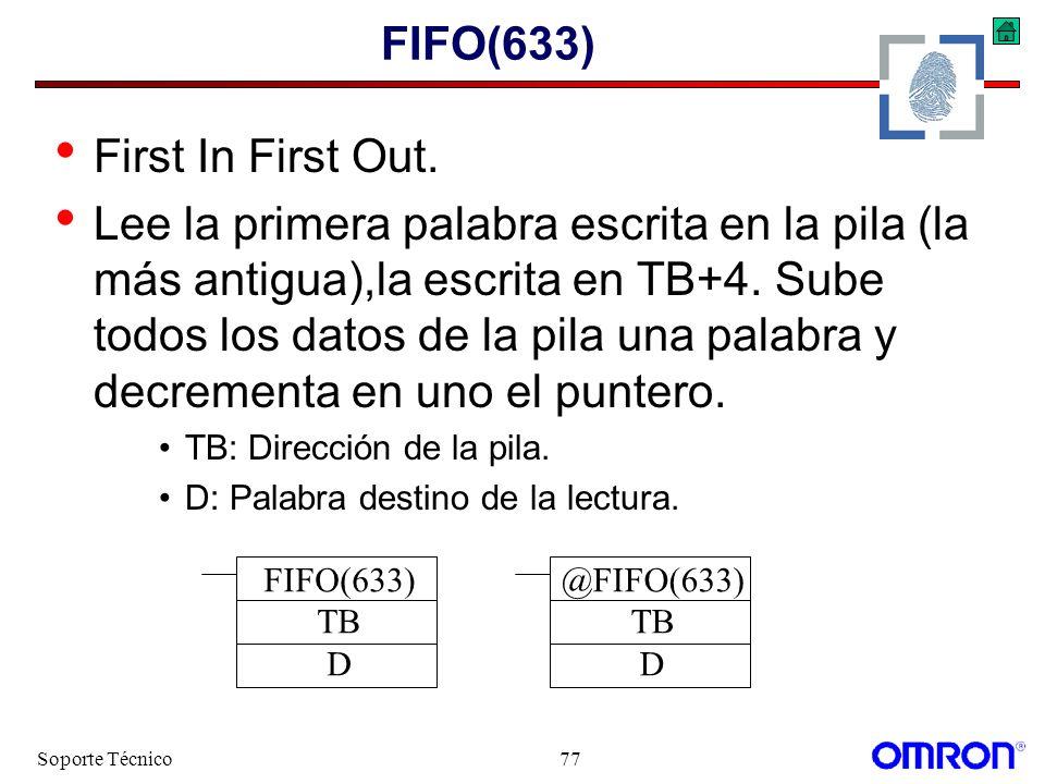 Soporte Técnico77 FIFO(633) First In First Out. Lee la primera palabra escrita en la pila (la más antigua),la escrita en TB+4. Sube todos los datos de
