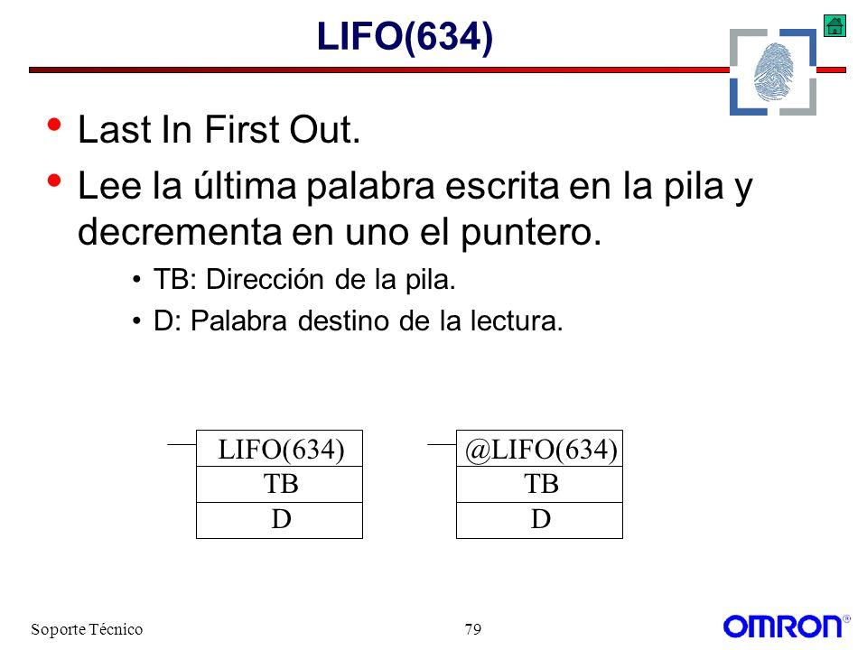 Soporte Técnico79 LIFO(634) Last In First Out. Lee la última palabra escrita en la pila y decrementa en uno el puntero. TB: Dirección de la pila. D: P