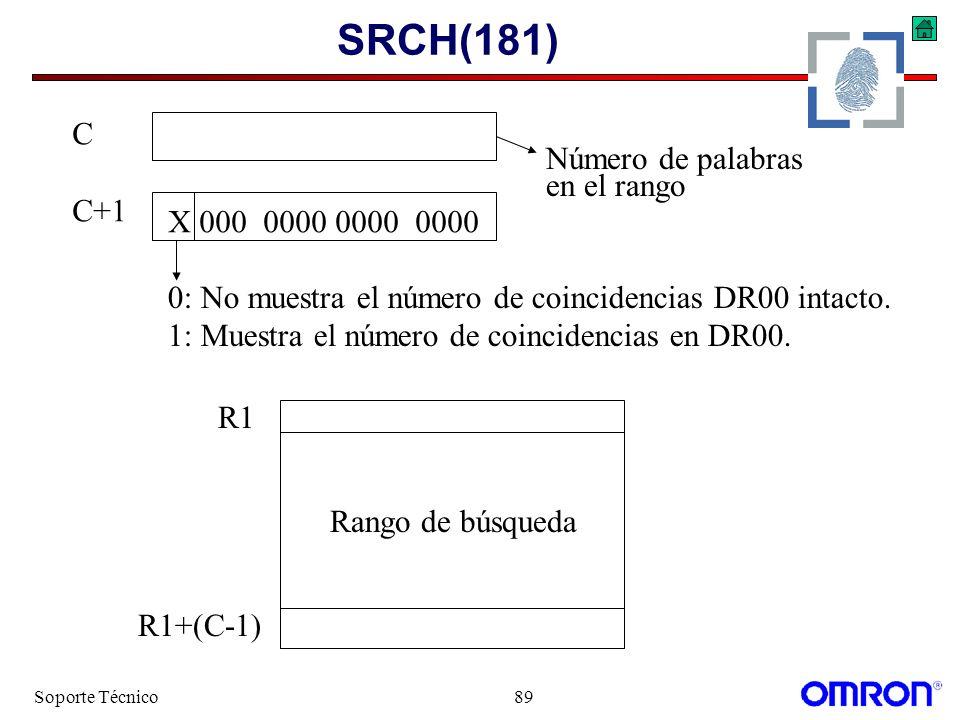 Soporte Técnico89 SRCH(181) X 000 0000 0000 0000 0: No muestra el número de coincidencias DR00 intacto. 1: Muestra el número de coincidencias en DR00.