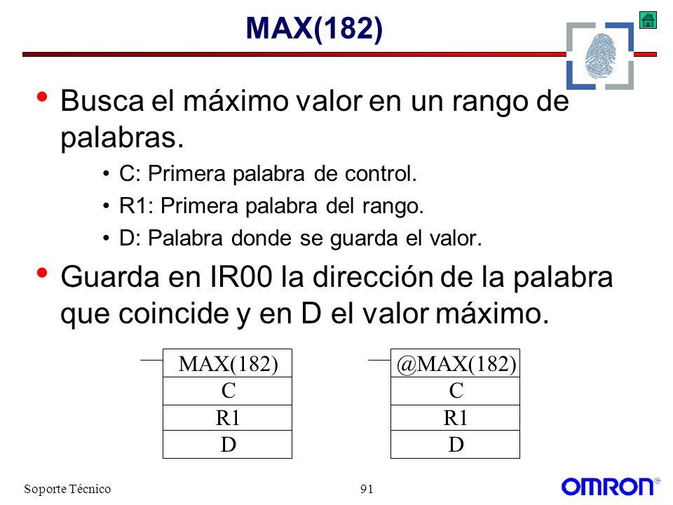 Soporte Técnico91 MAX(182) Busca el máximo valor en un rango de palabras. C: Primera palabra de control. R1: Primera palabra del rango. D: Palabra don