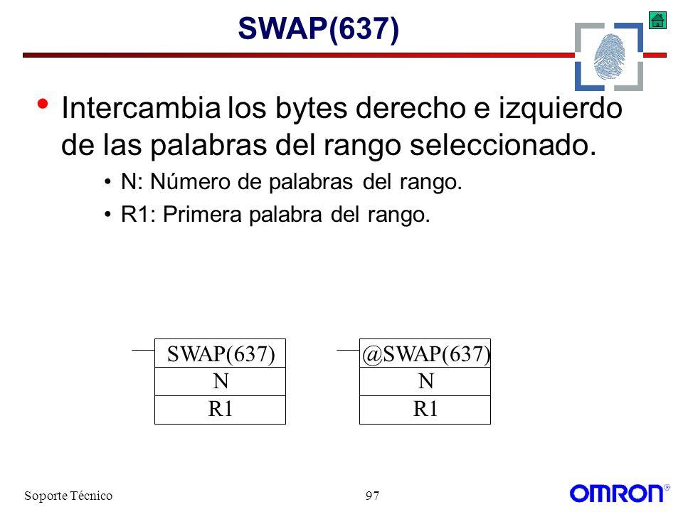 Soporte Técnico97 SWAP(637) Intercambia los bytes derecho e izquierdo de las palabras del rango seleccionado. N: Número de palabras del rango. R1: Pri