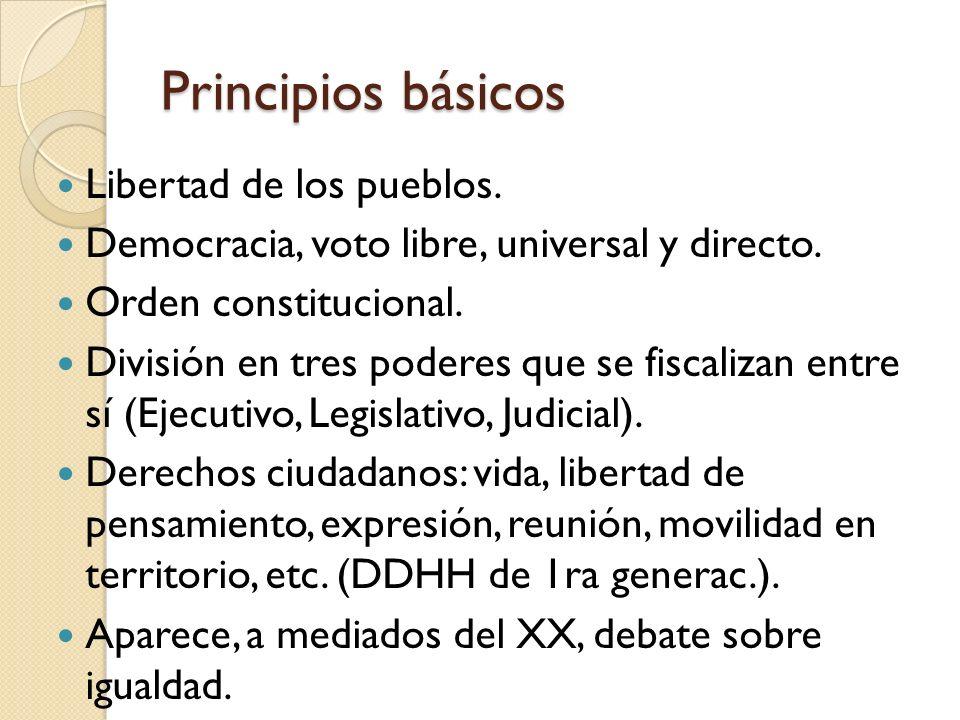 Principios básicos Libertad de los pueblos. Democracia, voto libre, universal y directo. Orden constitucional. División en tres poderes que se fiscali