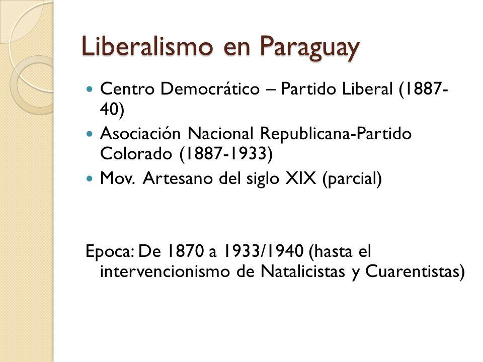 Liberalismo en Paraguay Centro Democrático – Partido Liberal (1887- 40) Asociación Nacional Republicana-Partido Colorado (1887-1933) Mov. Artesano del