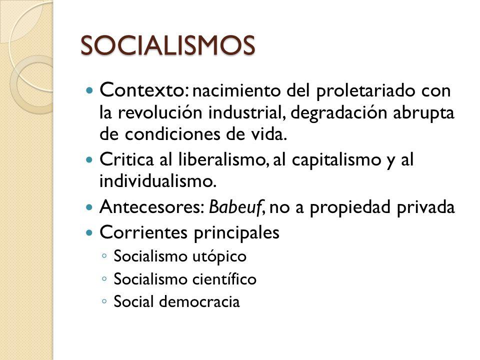 SOCIALISMOS Contexto: nacimiento del proletariado con la revolución industrial, degradación abrupta de condiciones de vida. Critica al liberalismo, al