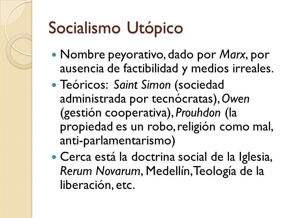 Socialismo Utópico Nombre peyorativo, dado por Marx, por ausencia de factibilidad y medios irreales. Teóricos: Saint Simon (sociedad administrada por
