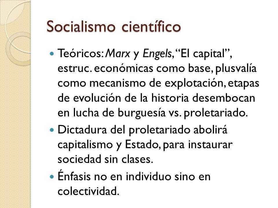 Socialismo científico Teóricos: Marx y Engels, El capital, estruc. económicas como base, plusvalía como mecanismo de explotación, etapas de evolución