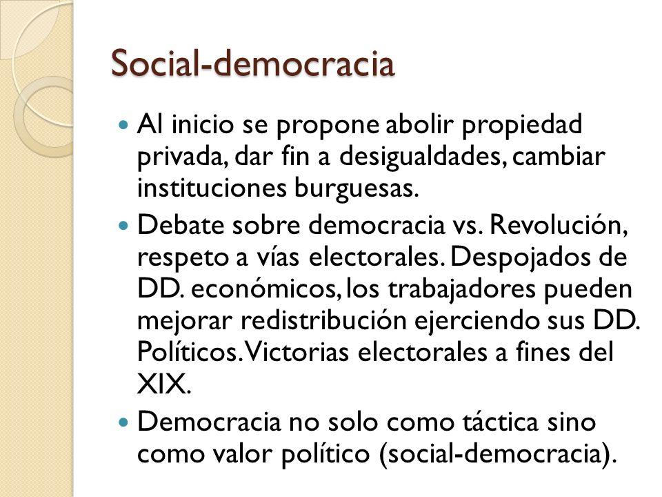 Social-democracia Al inicio se propone abolir propiedad privada, dar fin a desigualdades, cambiar instituciones burguesas. Debate sobre democracia vs.