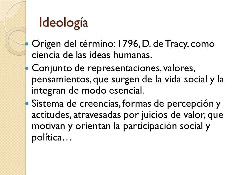 Ideología Origen del término: 1796, D. de Tracy, como ciencia de las ideas humanas. Conjunto de representaciones, valores, pensamientos, que surgen de