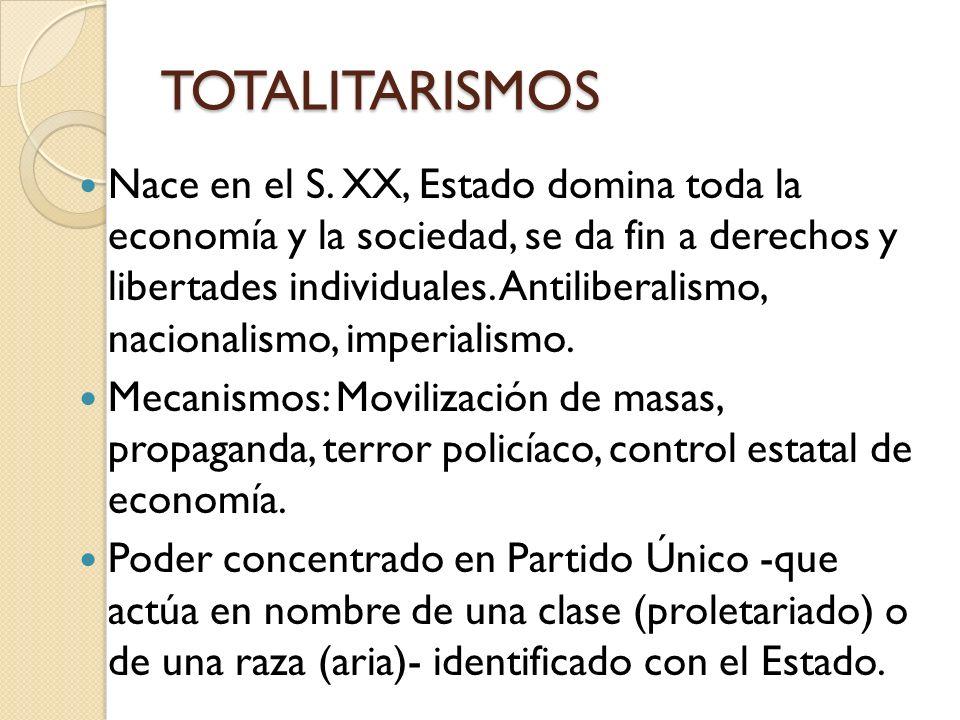 TOTALITARISMOS Nace en el S. XX, Estado domina toda la economía y la sociedad, se da fin a derechos y libertades individuales. Antiliberalismo, nacion