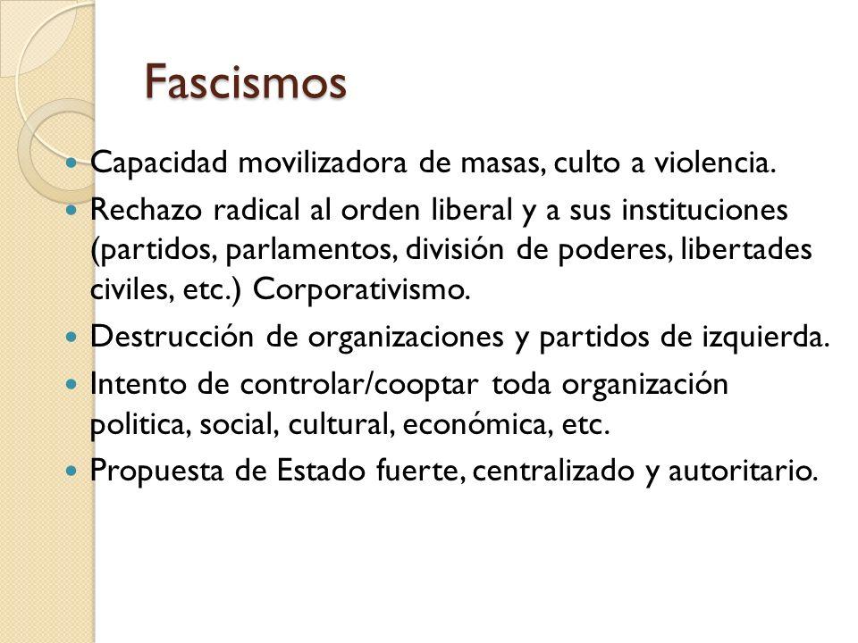 Fascismos Capacidad movilizadora de masas, culto a violencia. Rechazo radical al orden liberal y a sus instituciones (partidos, parlamentos, división