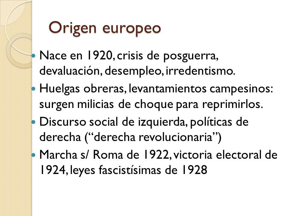 Origen europeo Nace en 1920, crisis de posguerra, devaluación, desempleo, irredentismo. Huelgas obreras, levantamientos campesinos: surgen milicias de
