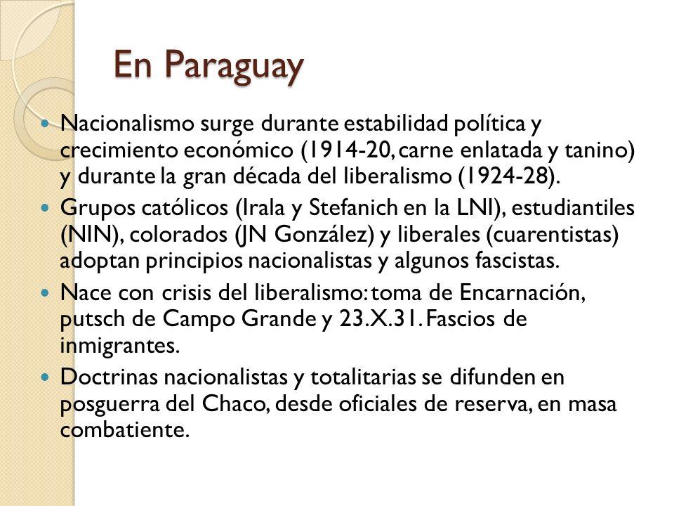 En Paraguay Nacionalismo surge durante estabilidad política y crecimiento económico (1914-20, carne enlatada y tanino) y durante la gran década del li