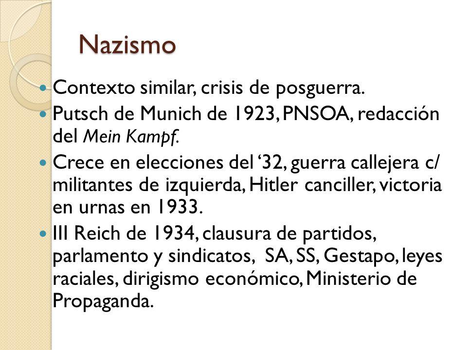 Nazismo Contexto similar, crisis de posguerra. Putsch de Munich de 1923, PNSOA, redacción del Mein Kampf. Crece en elecciones del 32, guerra callejera