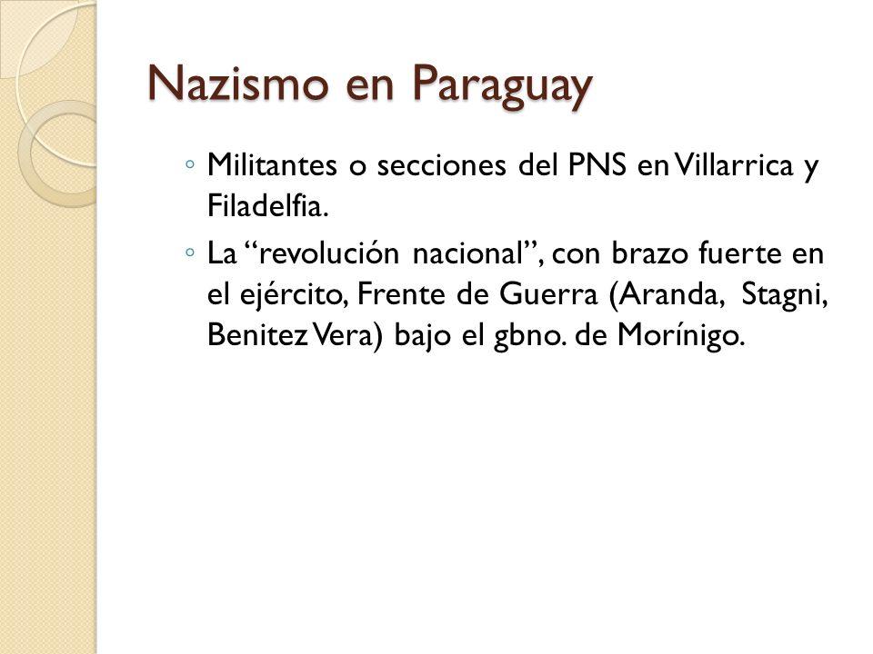 Nazismo en Paraguay Militantes o secciones del PNS en Villarrica y Filadelfia. La revolución nacional, con brazo fuerte en el ejército, Frente de Guer