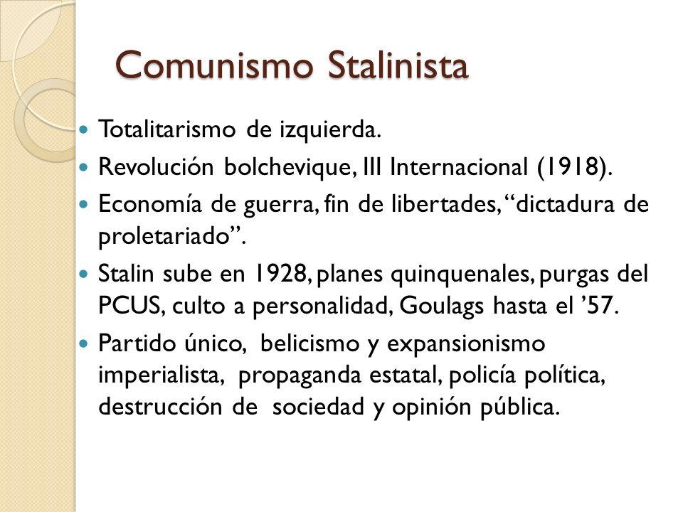 Comunismo Stalinista Totalitarismo de izquierda. Revolución bolchevique, III Internacional (1918). Economía de guerra, fin de libertades, dictadura de