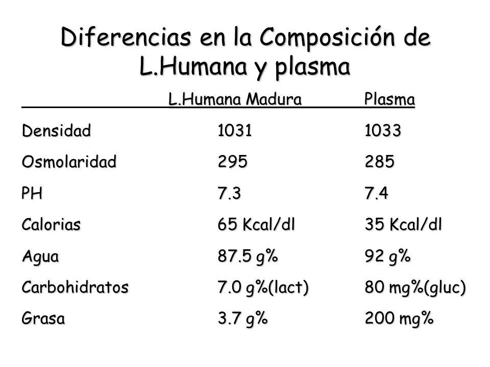 Diferencias en la Composición de L.Humana y plasma L.Humana MaduraPlasma Densidad10311033 Osmolaridad295285 PH7.37.4 Calorias65 Kcal/dl35 Kcal/dl Agua