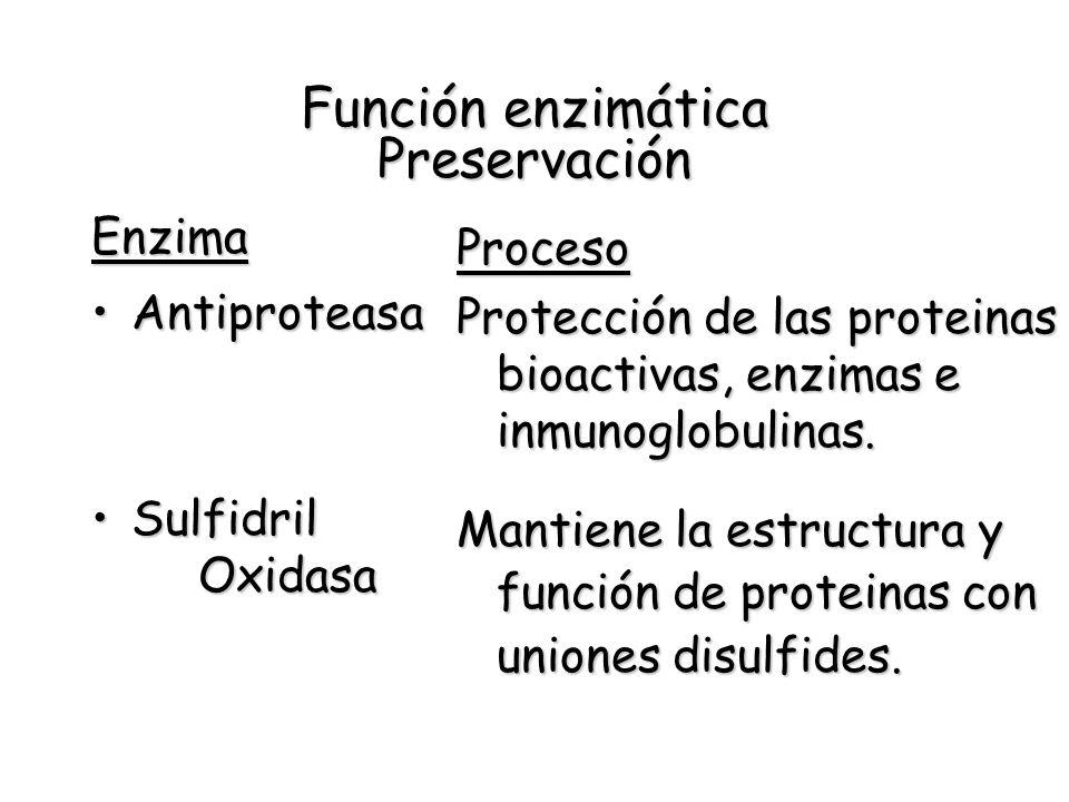 Función enzimática Preservación Enzima AntiproteasaAntiproteasa Sulfidril OxidasaSulfidril Oxidasa Proceso Protección de las proteinas bioactivas, enz