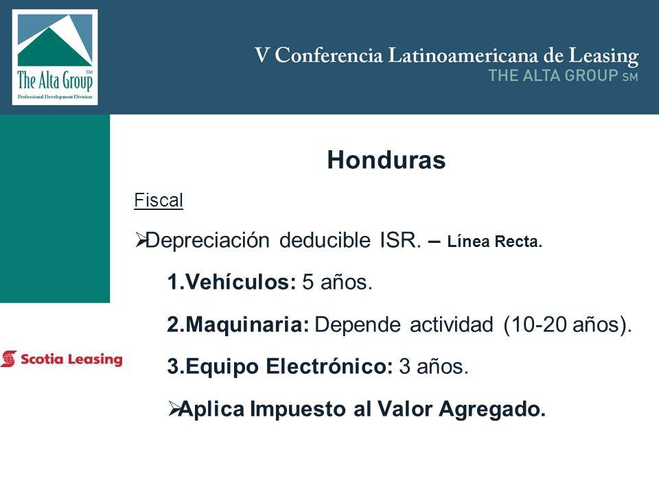 Insertar logo Honduras Fiscal Depreciación deducible ISR. – Línea Recta. 1.Vehículos: 5 años. 2.Maquinaria: Depende actividad (10-20 años). 3.Equipo E