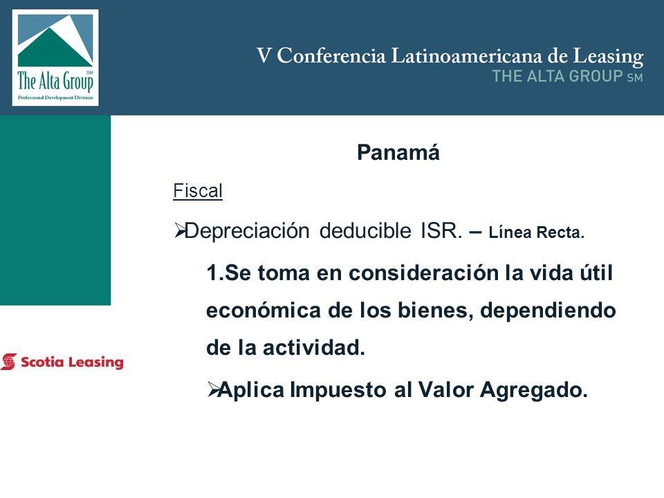 Insertar logo Panamá Fiscal Depreciación deducible ISR. – Línea Recta. 1.Se toma en consideración la vida útil económica de los bienes, dependiendo de
