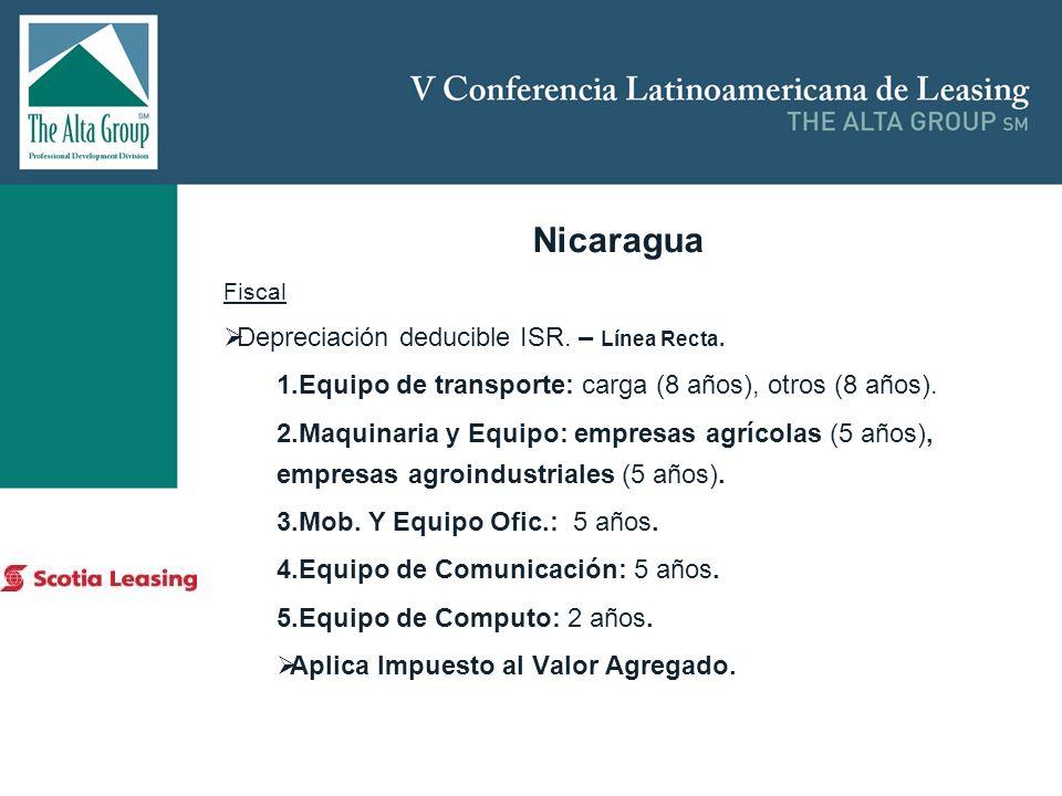 Insertar logo Nicaragua Fiscal Depreciación deducible ISR. – Línea Recta. 1.Equipo de transporte: carga (8 años), otros (8 años). 2.Maquinaria y Equip