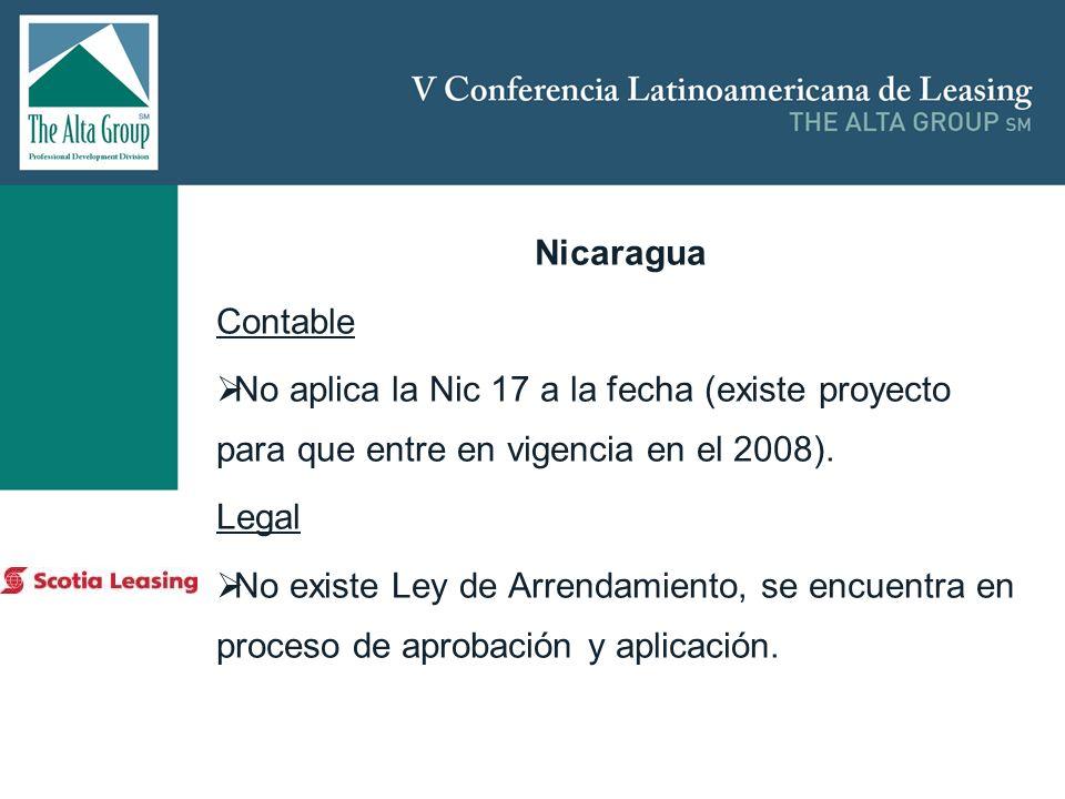 Insertar logo Nicaragua Contable No aplica la Nic 17 a la fecha (existe proyecto para que entre en vigencia en el 2008). Legal No existe Ley de Arrend