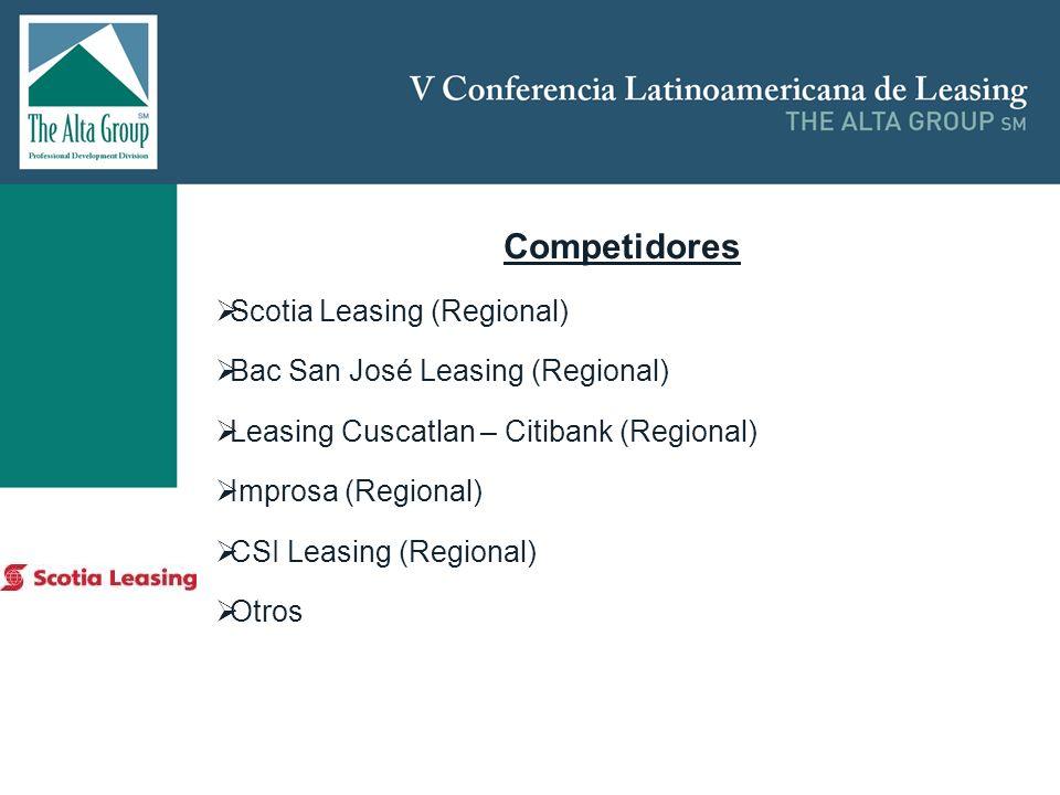 Insertar logo Competidores Scotia Leasing (Regional) Bac San José Leasing (Regional) Leasing Cuscatlan – Citibank (Regional) Improsa (Regional) CSI Le