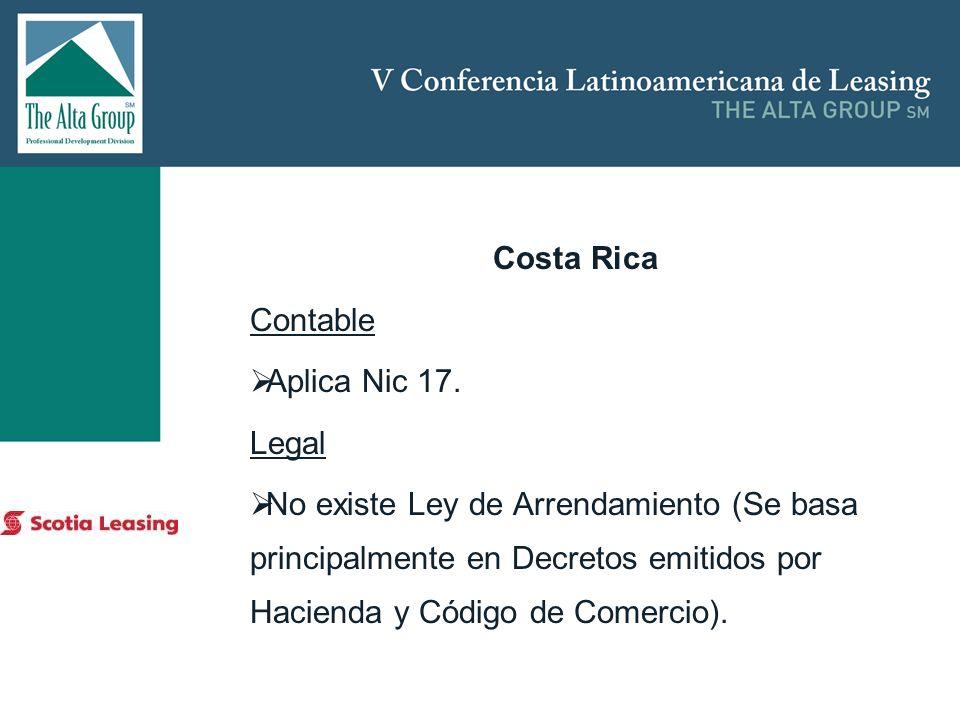 Insertar logo Costa Rica Contable Aplica Nic 17. Legal No existe Ley de Arrendamiento (Se basa principalmente en Decretos emitidos por Hacienda y Códi
