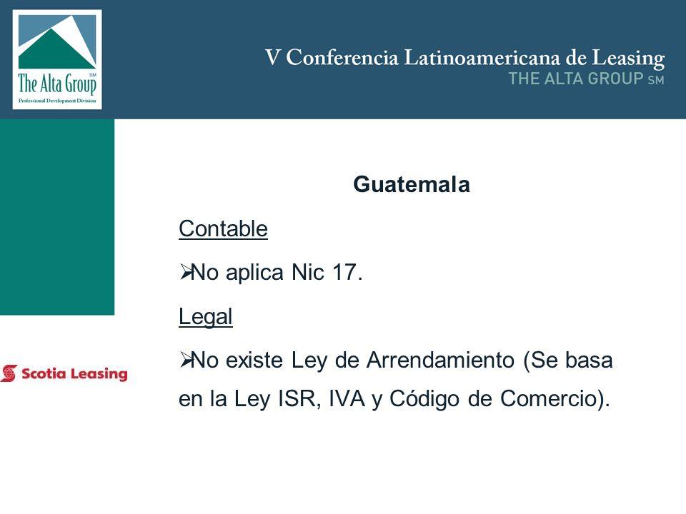 Insertar logo Guatemala Contable No aplica Nic 17. Legal No existe Ley de Arrendamiento (Se basa en la Ley ISR, IVA y Código de Comercio).