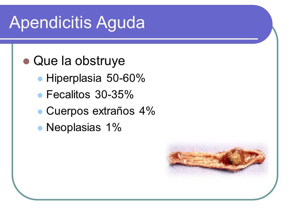 Que la obstruye Hiperplasia 50-60% Fecalitos 30-35% Cuerpos extraños 4% Neoplasias 1%