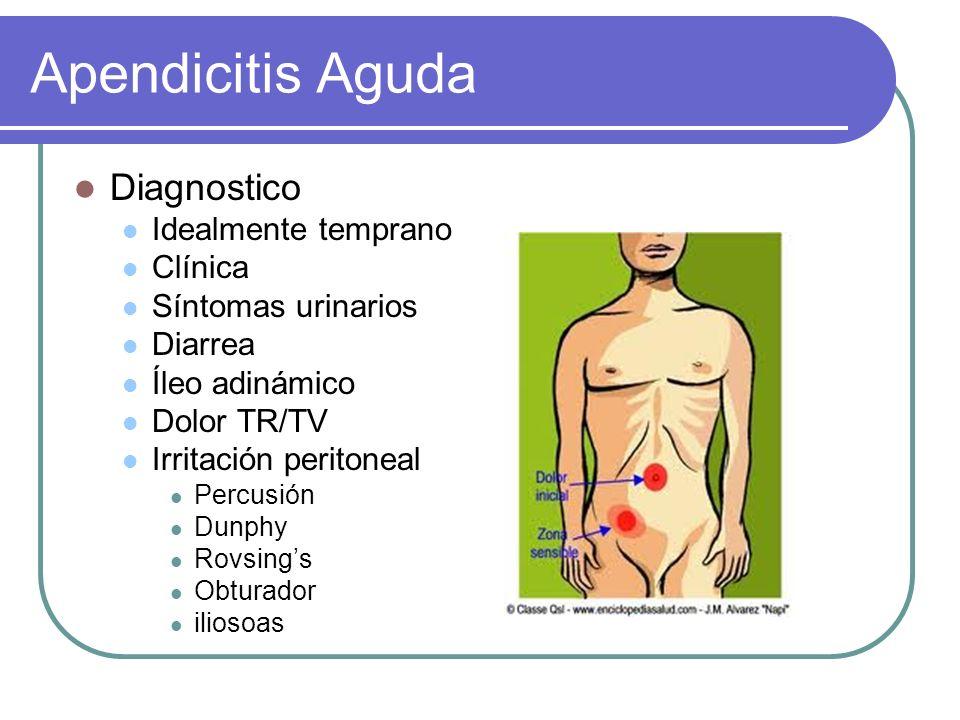 Apendicitis Aguda Diagnostico Idealmente temprano Clínica Síntomas urinarios Diarrea Íleo adinámico Dolor TR/TV Irritación peritoneal Percusión Dunphy