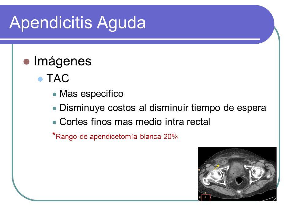 Imágenes TAC Mas especifico Disminuye costos al disminuir tiempo de espera Cortes finos mas medio intra rectal * Rango de apendicetomía blanca 20%