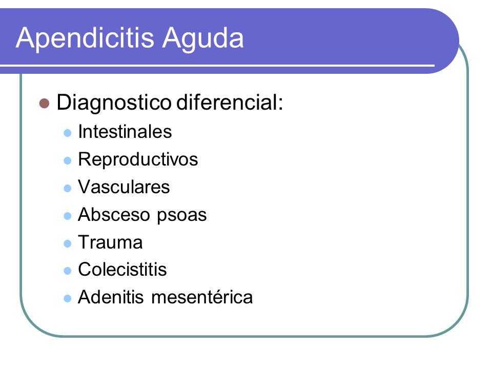 Apendicitis Aguda Diagnostico diferencial: Intestinales Reproductivos Vasculares Absceso psoas Trauma Colecistitis Adenitis mesentérica