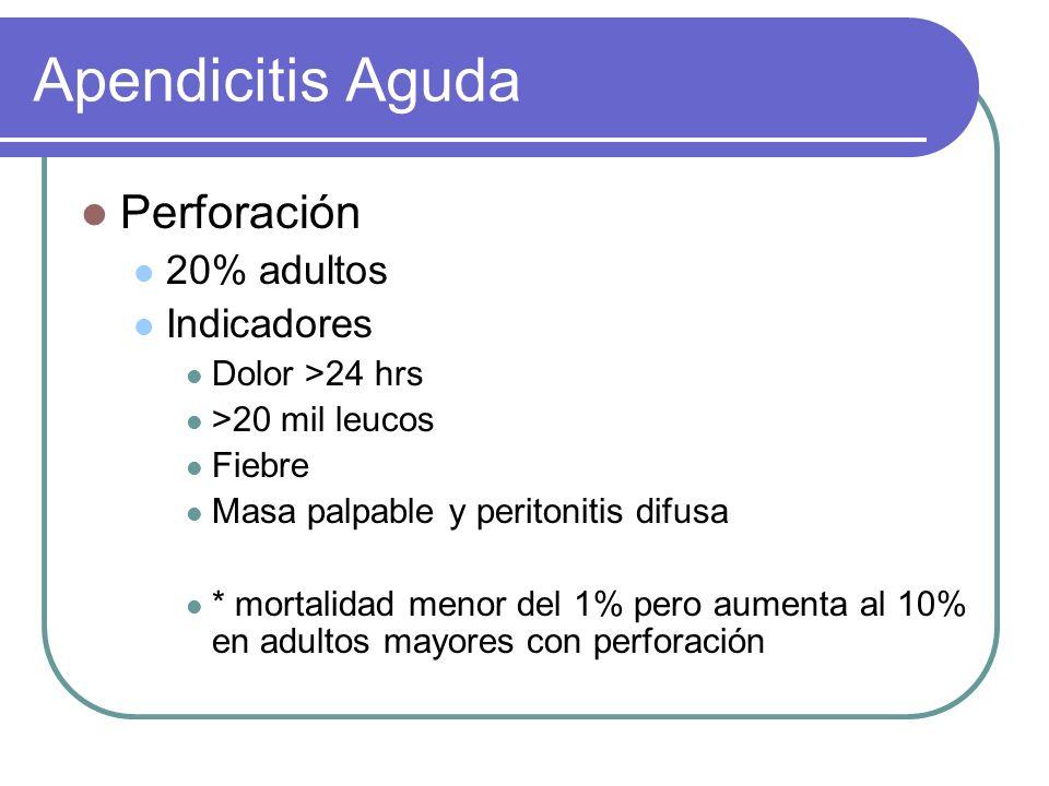 Apendicitis Aguda Perforación 20% adultos Indicadores Dolor >24 hrs >20 mil leucos Fiebre Masa palpable y peritonitis difusa * mortalidad menor del 1%