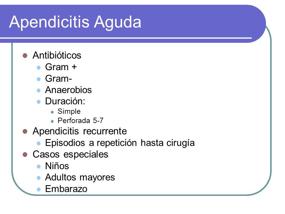Apendicitis Aguda Antibióticos Gram + Gram- Anaerobios Duración: Simple Perforada 5-7 Apendicitis recurrente Episodios a repetición hasta cirugía Caso