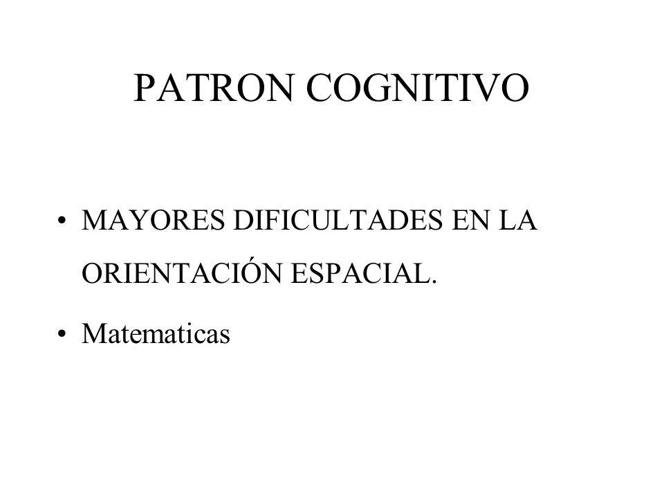 PATRON COGNITIVO MAYORES DIFICULTADES EN LA ORIENTACIÓN ESPACIAL. Matematicas