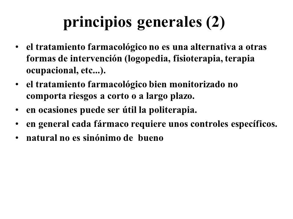 principios generales (2) el tratamiento farmacológico no es una alternativa a otras formas de intervención (logopedia, fisioterapia, terapia ocupacion