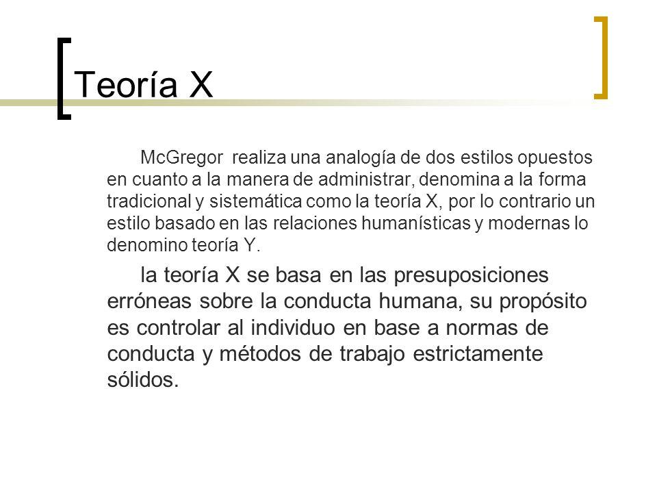 Teoría X McGregor realiza una analogía de dos estilos opuestos en cuanto a la manera de administrar, denomina a la forma tradicional y sistemática com