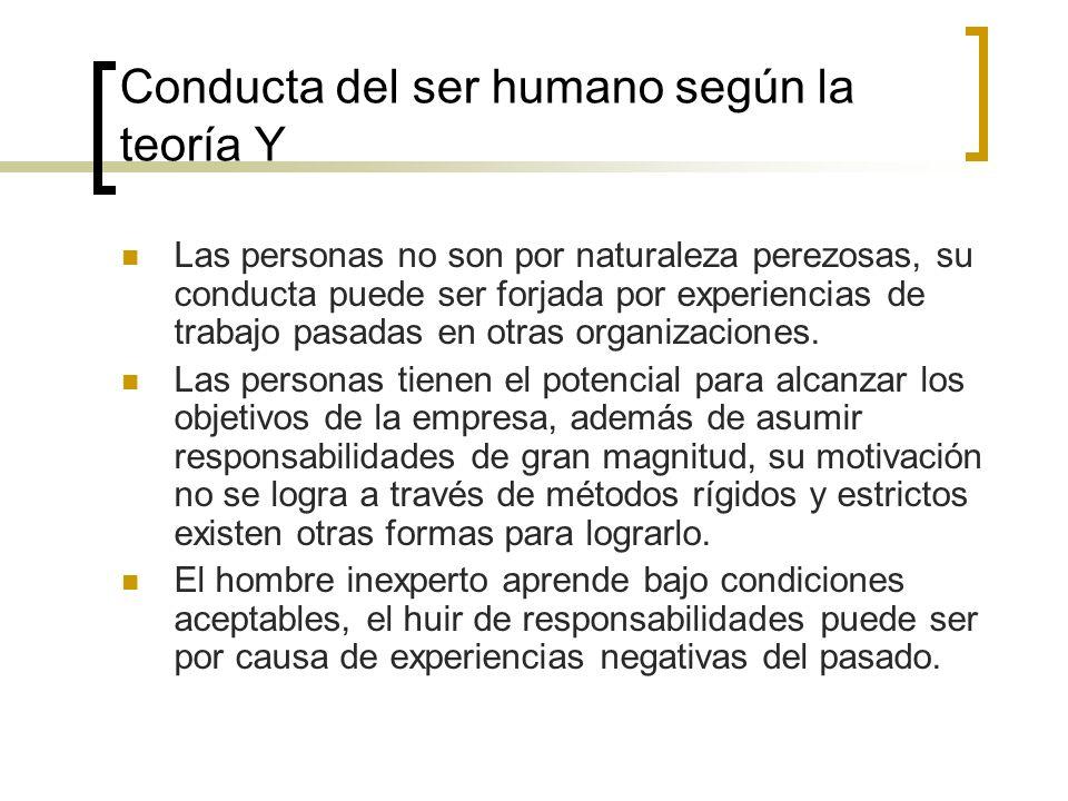 Conducta del ser humano según la teoría Y Las personas no son por naturaleza perezosas, su conducta puede ser forjada por experiencias de trabajo pasa
