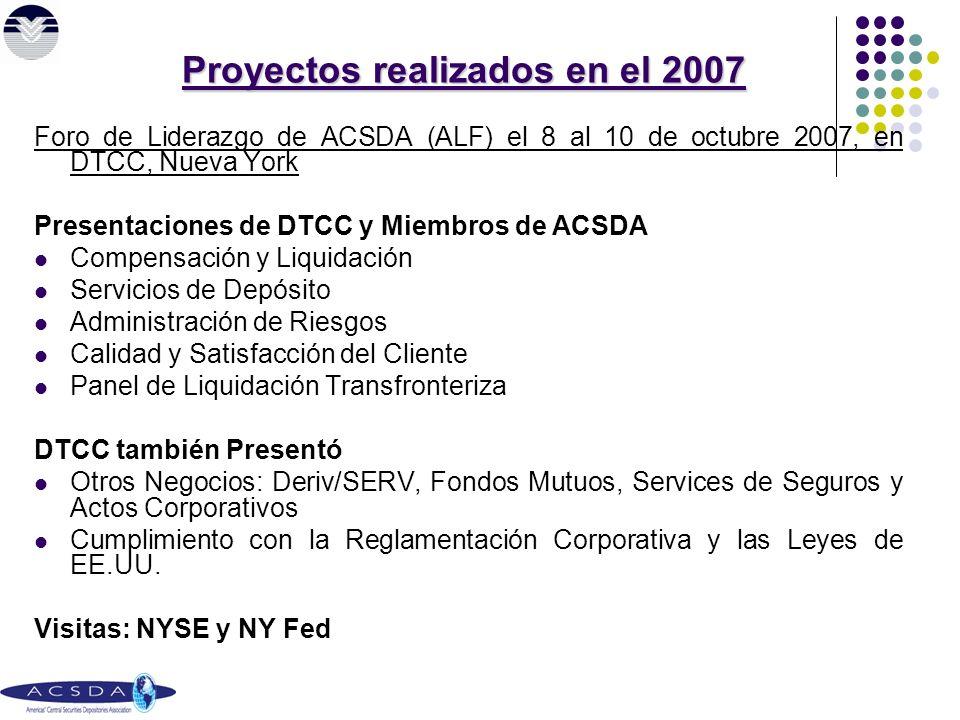 Foro de Liderazgo de ACSDA (ALF) el 8 al 10 de octubre 2007, en DTCC, Nueva York Presentaciones de DTCC y Miembros de ACSDA Compensación y Liquidación Servicios de Depósito Administración de Riesgos Calidad y Satisfacción del Cliente Panel de Liquidación Transfronteriza DTCC también Presentó Otros Negocios: Deriv/SERV, Fondos Mutuos, Services de Seguros y Actos Corporativos Cumplimiento con la Reglamentación Corporativa y las Leyes de EE.UU.
