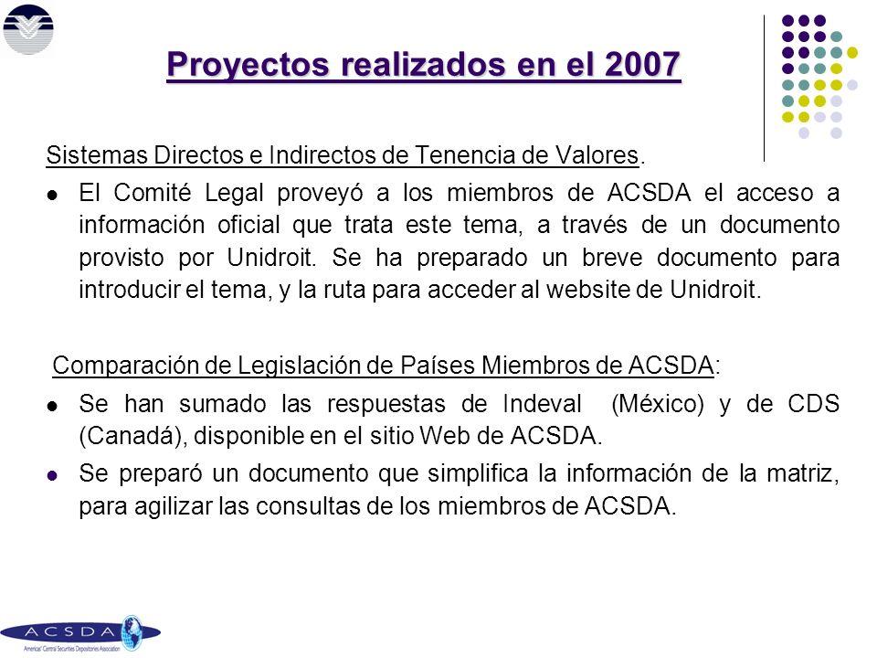 Proyectos realizados en el 2007 Sistemas Directos e Indirectos de Tenencia de Valores.