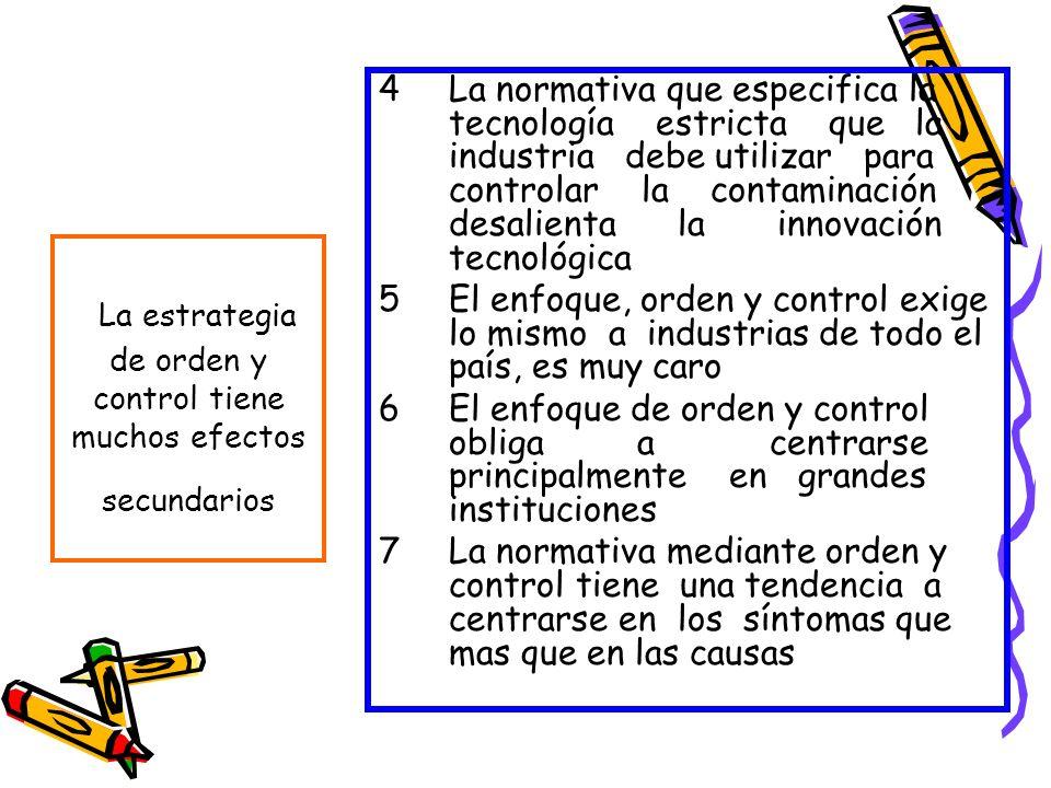4La normativa que especifica la tecnología estricta que la industria debe utilizar para controlar la contaminación desalienta la innovación tecnológic