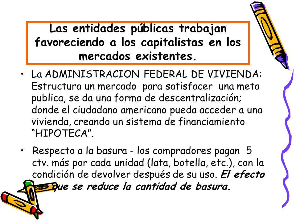 La ADMINISTRACION FEDERAL DE VIVIENDA: Estructura un mercado para satisfacer una meta publica, se da una forma de descentralización; donde el ciudadan