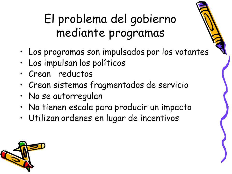 El problema del gobierno mediante programas Los programas son impulsados por los votantes Los impulsan los políticos Crean reductos Crean sistemas fra
