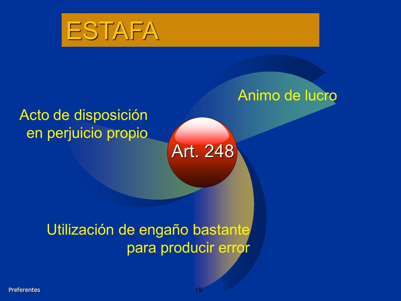 Art. 248 Acto de disposición en perjuicio propio Animo de lucro Utilización de engaño bastante para producir errorESTAFAPreferentes 19