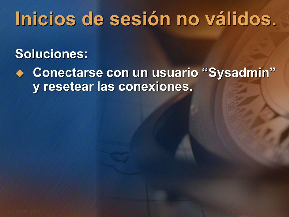 Microsoft Confidential 10 WWSMM 2000 Inicios de sesión no válidos. Soluciones: Conectarse con un usuario Sysadmin y resetear las conexiones. Conectars