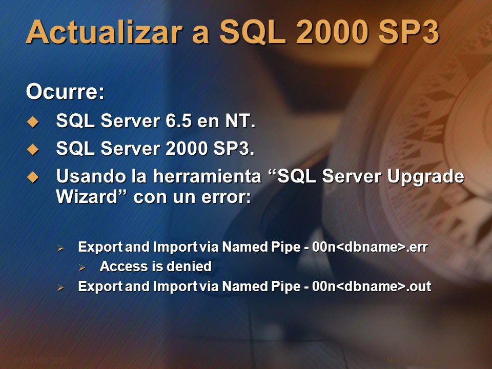 Microsoft Confidential 12 WWSMM 2000 Actualizar a SQL 2000 SP3 Ocurre: SQL Server 6.5 en NT. SQL Server 6.5 en NT. SQL Server 2000 SP3. SQL Server 200