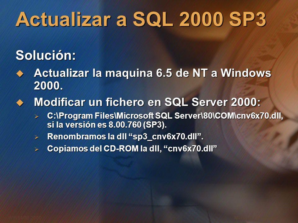 Microsoft Confidential 13 WWSMM 2000 Actualizar a SQL 2000 SP3 Solución: Actualizar la maquina 6.5 de NT a Windows 2000. Actualizar la maquina 6.5 de