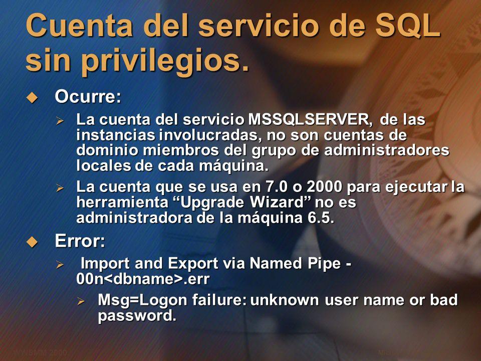 Microsoft Confidential 15 WWSMM 2000 Cuenta del servicio de SQL sin privilegios. Ocurre: Ocurre: La cuenta del servicio MSSQLSERVER, de las instancias