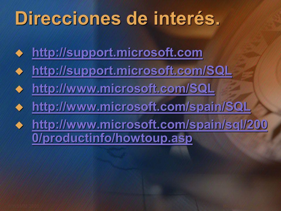 Microsoft Confidential 2 WWSMM 2000 Direcciones de interés. http://support.microsoft.com http://support.microsoft.com http://support.microsoft.com htt